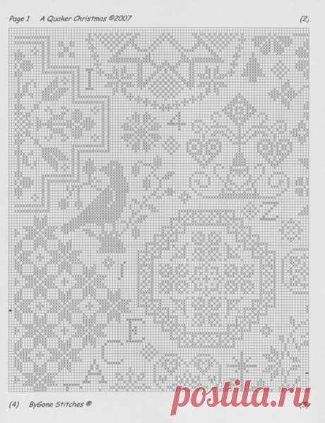 Quaker Christmas Sampler • 3/8 Page 1 of Chart | Needlecraft