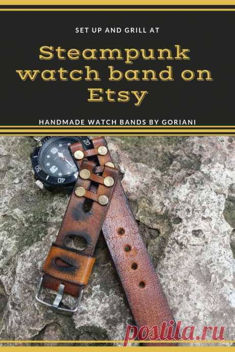 Steampunk watch band on etsy .This Unique handmade apple watch band is created by Goriani.