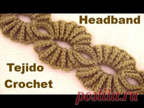 Вязаная повязка на голову с веером крючком для начинающих