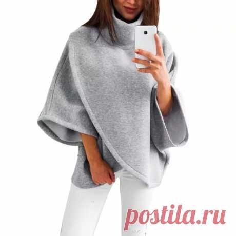 Женское пончо, женская накидка с бахромой, модное женское пончо с высокой горловиной и рукавом летучая мышь, зимнее теплое пальто, накидка, пальто 2020