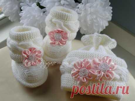 Шапочка спицами для малышей с собранным верхом - Modnoe Vyazanie ru.com