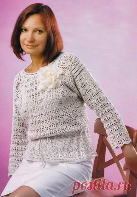 Вяжем очень красивый льняной пуловер | Dublog | Яндекс Дзен