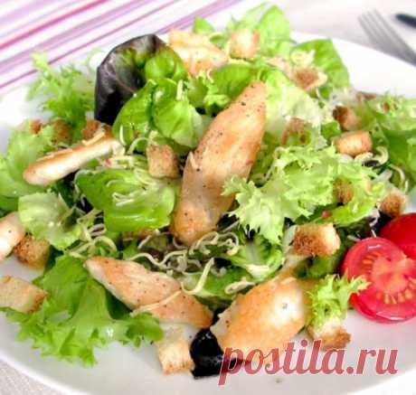Салат «Цезарь» с курицей и сухариками – пошаговый рецепт с фото от Петелинки