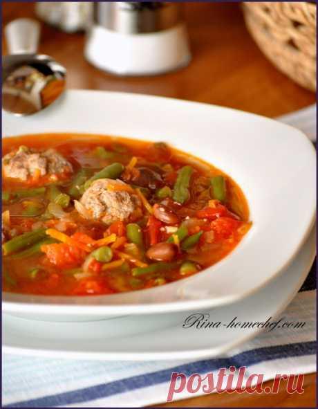 Томатный суп с фасолью и фрикадельками - Кулинарные заметки
