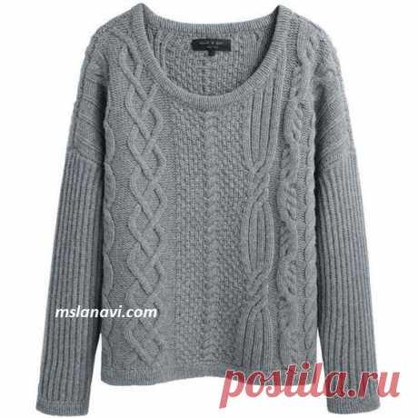 Пуловер ассиметричными узорами | Вяжем с Лана Ви