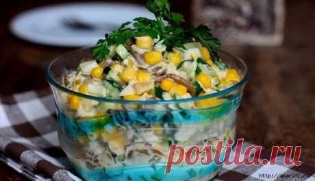 Лёгкий курино-грибной салат с кукурузой.