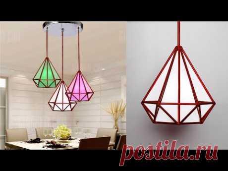 Diamond shape lamp with Newspaper || Newspaper hanging lamp || Easy room decor