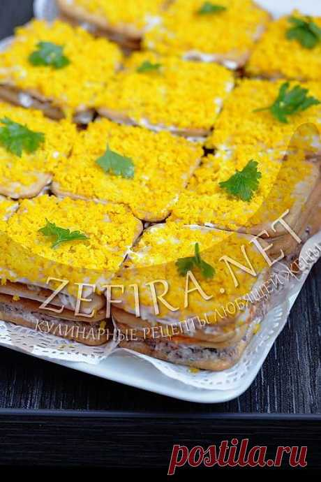 Закусочный торт с рыбными консервами-домашние рецепты с фото