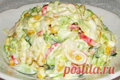 Рецепт: Салат с крабовыми палочками и ананасом