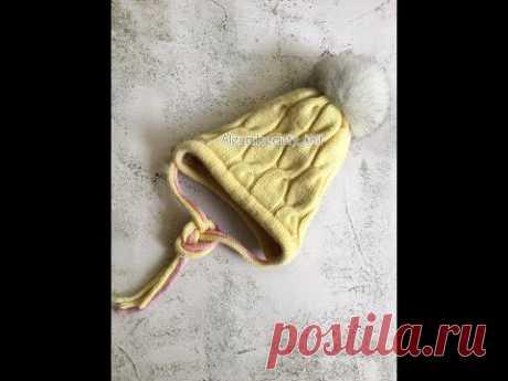 ШАПКА с анатомическими ушками спицами (МК в деталях) #шапкаспицами #осень #зима #вязаниеспицами