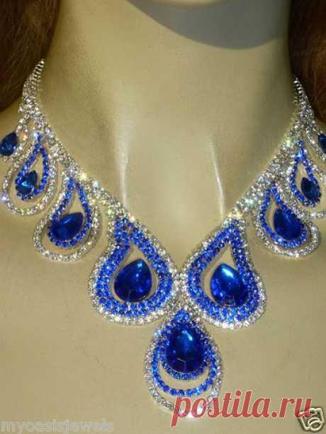 Rhinestone Austrian Crystal Choker Necklace Earring Royal Blue Pageant Drag