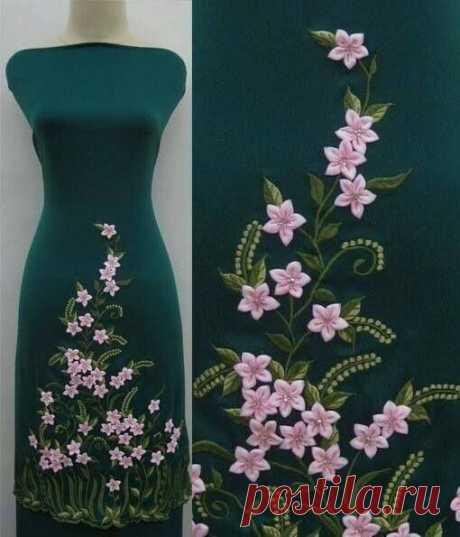 Украшение платьев цветами