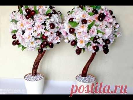 Как сделать искусственное дерево с цветами