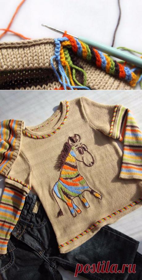 Как красиво связать горловину крючком на свитере