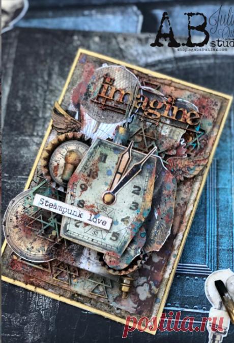 Мастер класс по мужской открытке в стиле Steampunk из материалов компании @ab.s.t.u.d.i.o