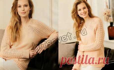 Модный пуловер с ажурными рукавами спицами - Хитсовет Вязание спицами для женщин модного пуловера с ажурными рукавами со схемой и пошаговым бесплатным описанием вязания.
