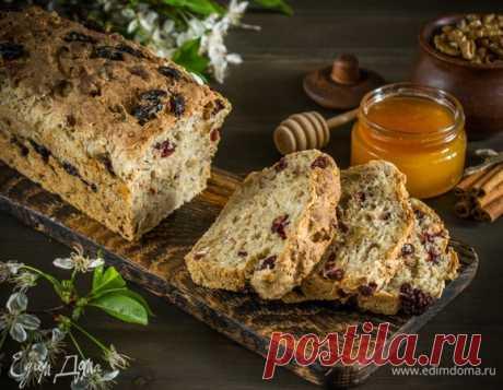 Овсяный хлеб с клюквой и грецкими орехами. Ингредиенты: вода, дрожжи сухие, мед
