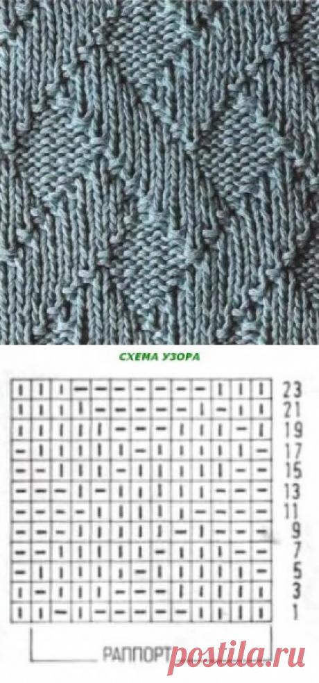 Плетеные ромбы, связанные спицами | О вязании