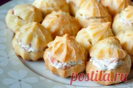 Профитроли со сливочным сыром и лососем ⋆ Хозяюшка