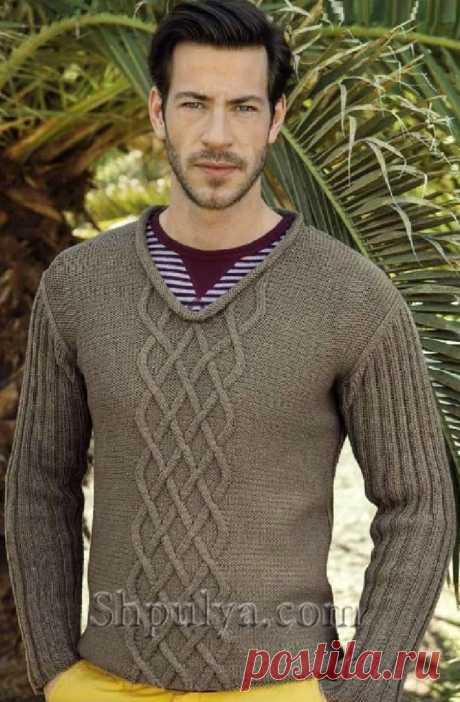 Мужской пуловер с узором из ромбов спицами - SHPULYA.com
