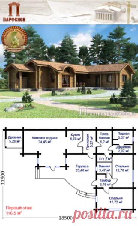 Проект одноэтажного деревянного дома или бани из оцилиндрованного бревна БП 116-58   Площадь застройки: 135,20 кв.м. Площадь общая: 101,21 кв.м. Площадь жилая: 50,93 кв.м. Площадь кровли: 175,60 кв.м. Высота потолка: 3,380 м. Высота в коньке: 4,080 м.   Технология и конструкция: Строительство дома из оцилиндрованного бревна. Фундаменты: ленточный монолитный. Наружные стены: оцилиндрованное бревно, диаметр бревна 200 мм.