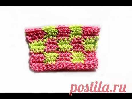 """Вязание крючком.Crochet. Разноцветный узор  """"Шахматка"""""""