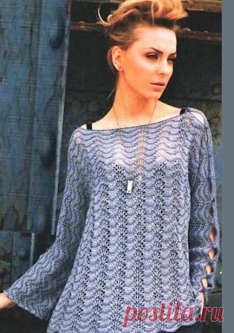 Пуловер Boatneck (спицы)