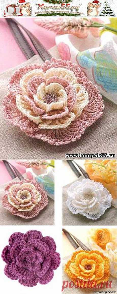 Потрясающий цветок крючком | «Хомяк55.ру» сайт о вязании