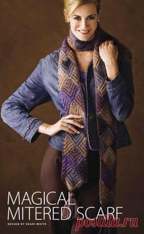 Вязаный шарф спицами в технике пэчворк