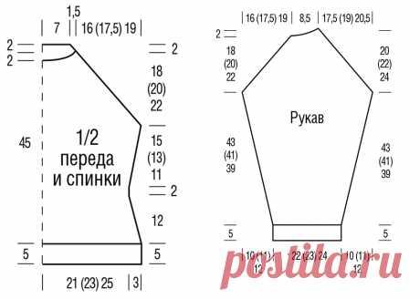 Сиреневый свитер с рукавом реглан - схема вязания спицами с описанием на Verena.ru