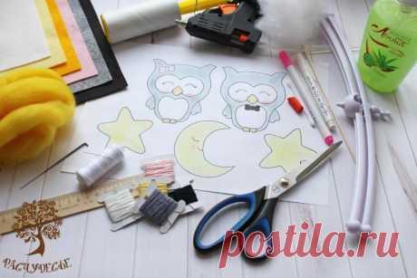 """Создаем фетровый мобиль """"Совята"""" для детской кроватки. Часть 1 - Ярмарка Мастеров - ручная работа, handmade"""