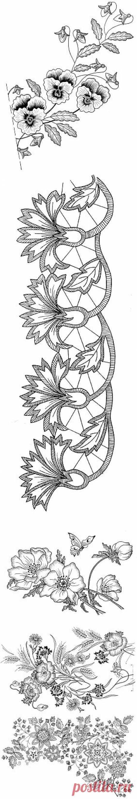 Галерея цветочных мотивов для вышивания .