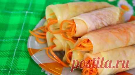 Маринованные капустные рулетики с морковью: пошаговый рецепт с фото
