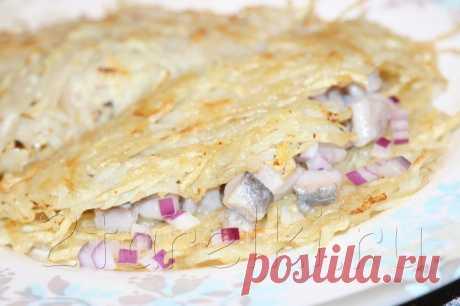 Картофельные деруны с селедкой | Четыре вкуса