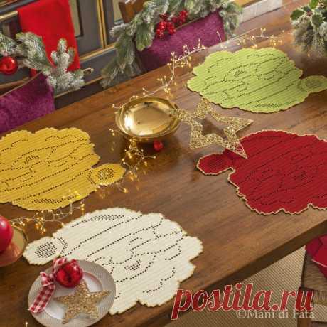 Scheme to realize the crochet filet Santa-Klaus-shaped coaster