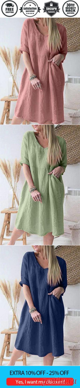 Casual Loose Pure V neck Three quarter sleeve Shift Dresses - Cicicloth