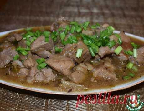 Нежнейшее мясо в пиве под потрясающим луковым соусом!
