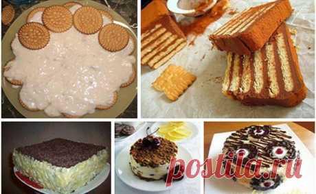 Торты из печенья без выпечки. 5 лучших рецептов Торт из печенья без выпечки — настоящая находка для тех, кто не любит тратить время на подготовку теста и выпекания коржей.