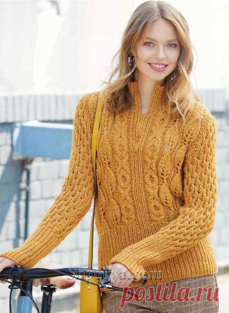 Приталенный шерстной пуловер с миксом узоров — Shpulya.com - схемы с описанием для вязания спицами и крючком
