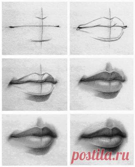 (1) Draw lips   Desseins