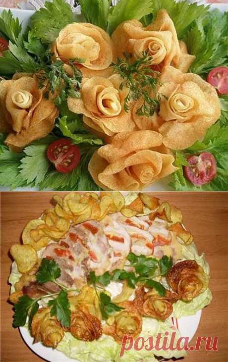 Розы из картошки.  Суперидея!