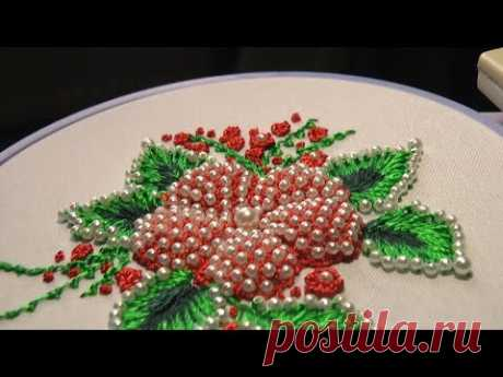 Hand Embroidery | PUFFED FLOWER With beads | Цветы пуфы