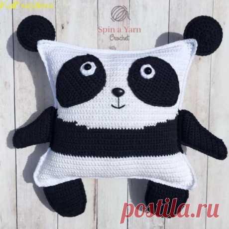 Вяжем милую подушку-панду из категории Интересные идеи – Вязаные идеи, идеи для вязания