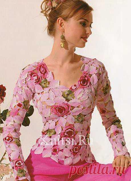 """Пуловер """"Розовый сад"""". Вязание для женщин / Пуловеры / Крючком"""