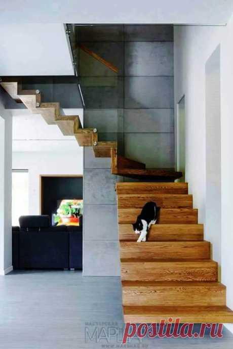 Лестницы, ограждения, перила из стекла, дерева, металла Маршаг – Лестница деревянная со стеклом