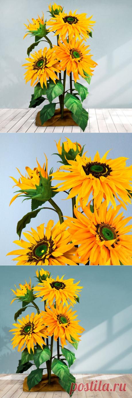 Ростовой цветок из фоамирана - Подсолнух. Купить ростовые цветы.