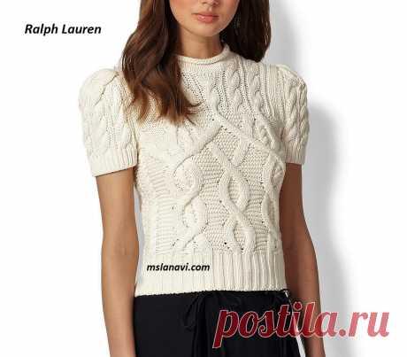Вязаный топ спицами от Ralph Lauren | Вяжем с Лана Ви