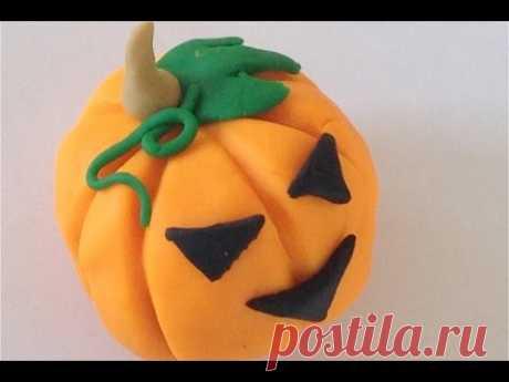 Тыква на хэллоуин лепим из пластилина!