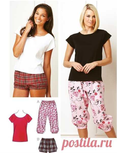 Выкройка пижамы женской размеры XS-XL
