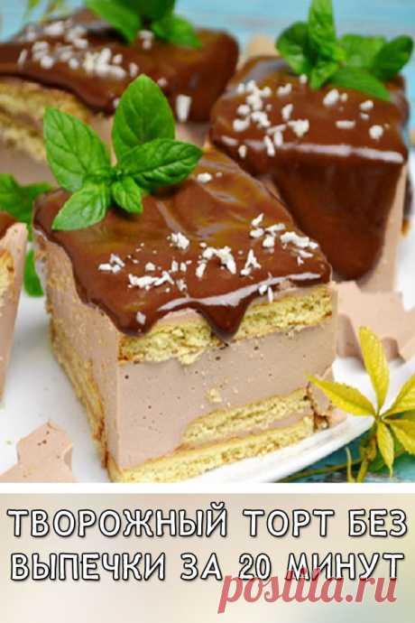 Творожный торт без выпечки за 20 минут. Нежный кремовый вкус Желированный творог приобретает особый кремовый вкус, он очень похож на начинку конфет «Птичье молоко». Толстый слой шоколадной глазури придает «образу торта» полную завершенность. Этот торт невозможно испортить, а весь процесс сборки слоев займет всего 15-20 минут.